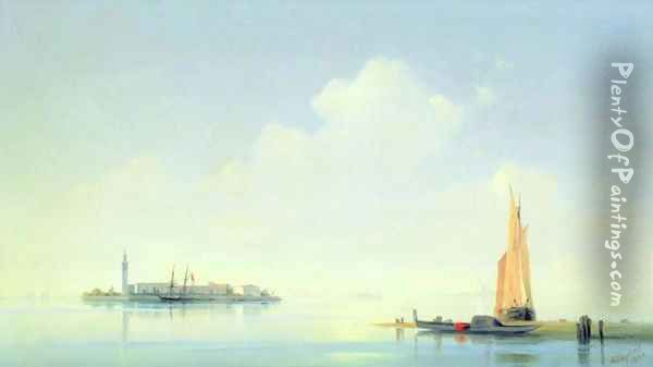The harbour of Venice, the island of San Georgio Oil Painting - Ivan Konstantinovich Aivazovsky