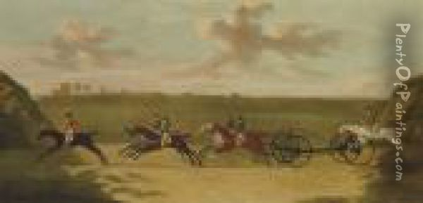 The Chaise Match, Run On Newmarket Heath, Wednesday 29 August,1750 Oil Painting - J. Francis Sartorius