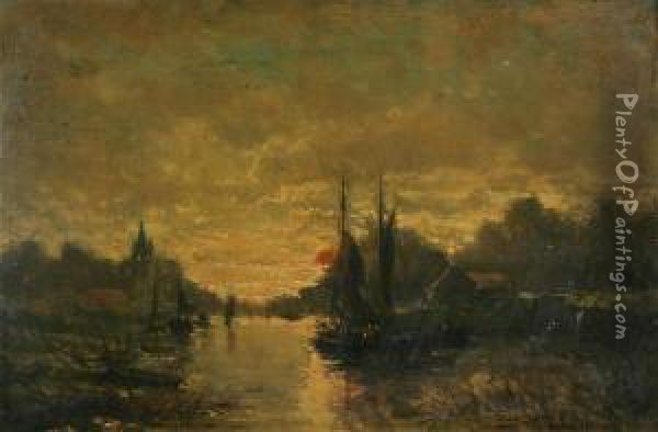 Dutch River Landscape With Fishermen In Yachts At Sunset Oil Painting - J. Tibois