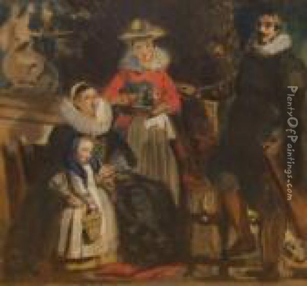 The Artist And His Family Oil Painting - Jacob Jordaens