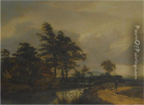 A Landscape With Buildings Near A River Oil Painting - Jacob Van Ruisdael