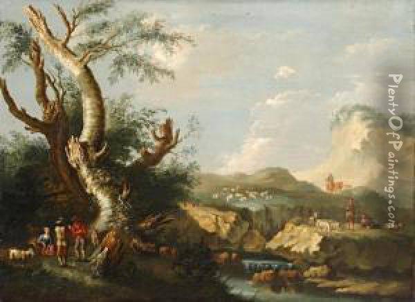 Shepherds And Goatherd Resting In A Rugged Landscape Oil Painting - Jacob Van Ruisdael