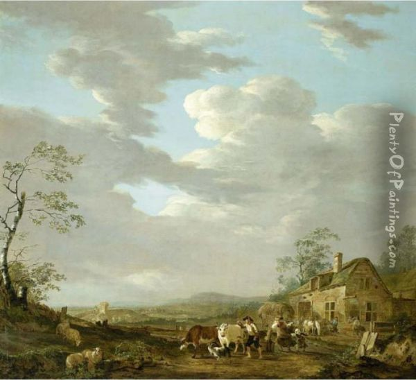 An Autumn Landscape With A Shepherd And His Herd And Travellers Near An Inn Oil Painting - Jacob Van Stry