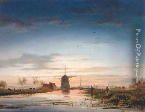 Anglers beside a Canal with a Windmill beyond Oil Painting - Jacobus Theodorus Abels