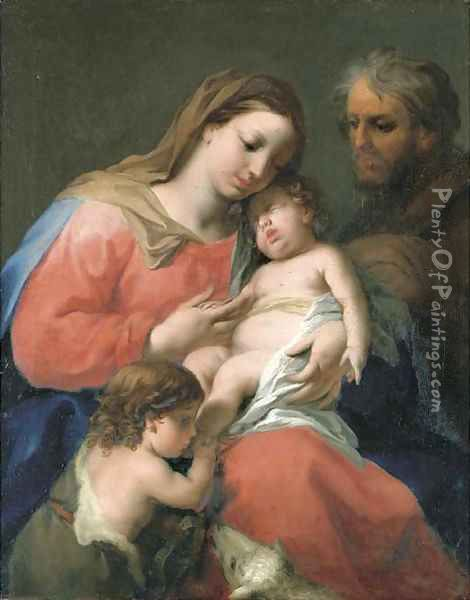 The Holy Family with the Infant Saint John the Baptist Oil Painting - Jacopo (Giacomo) Amigoni