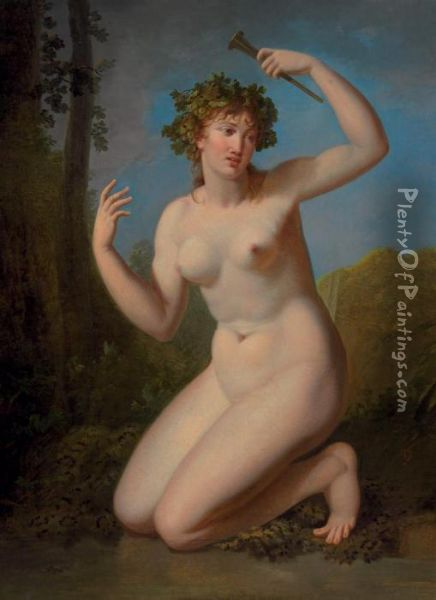 A Bacchante In A Wooded Grove Oil Painting - Jacques Antoine Vallin