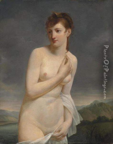 A Female Bather, In An Extensive River Landscape Oil Painting - Jacques Antoine Vallin