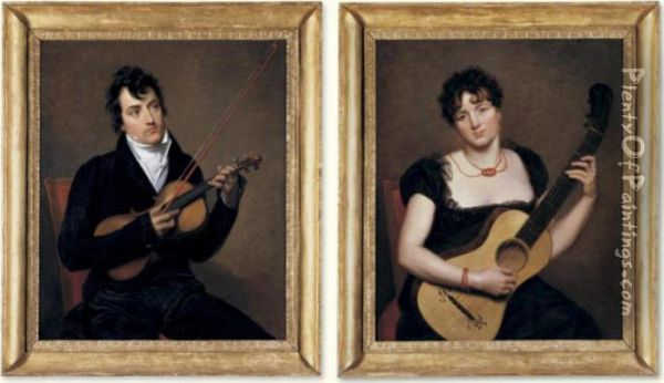 A Young Lady With A Guitar; A Young Man With A Violin, Possibly Pierre Rode Oil Painting - Jacques Antoine Vallin