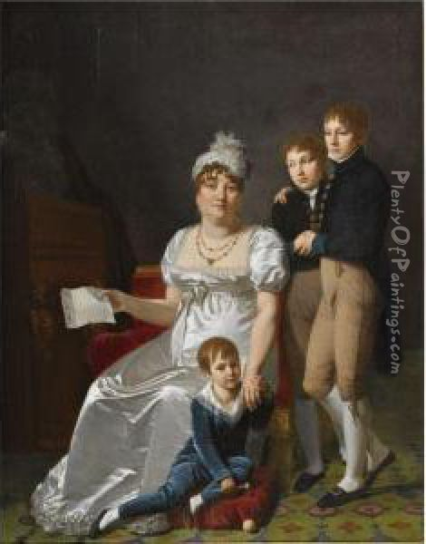 Portrait Of Madame B., Nee  Etiennette Delagrange, Full Length,seated, Wearing A White Dress And  Hat, Holding A Letter, With Herthree Sons Oil Painting - Jacques Antoine Vallin