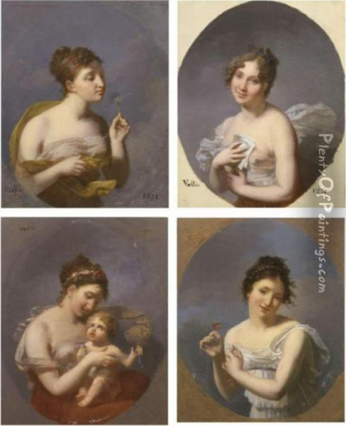 Portraits Of Women: A Set Of Four Paintings Oil Painting - Jacques Antoine Vallin