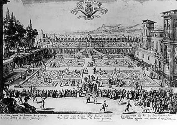 The Garden at the Palais de Nancy, dedicated to the Duchess of Lorraine, 1624 Oil Painting - Jacques Callot