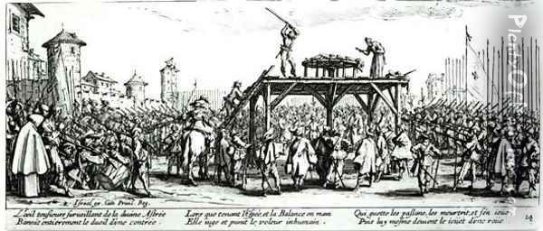 The Wheel, plate 14 from 'The Miseries and Misfortunes of War' 1633 Oil Painting - Jacques Callot