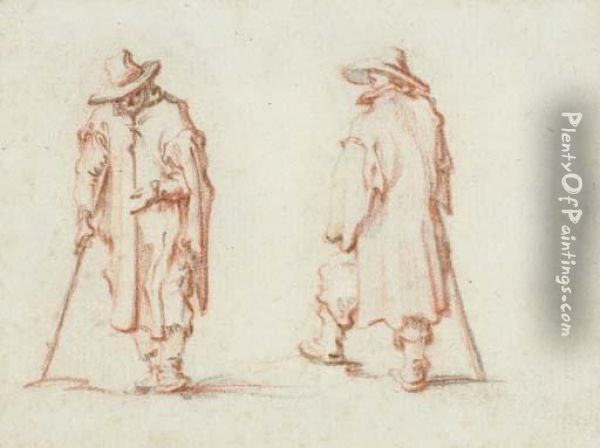 Two Men In Hats And Long Coats Oil Painting - Jacques Callot