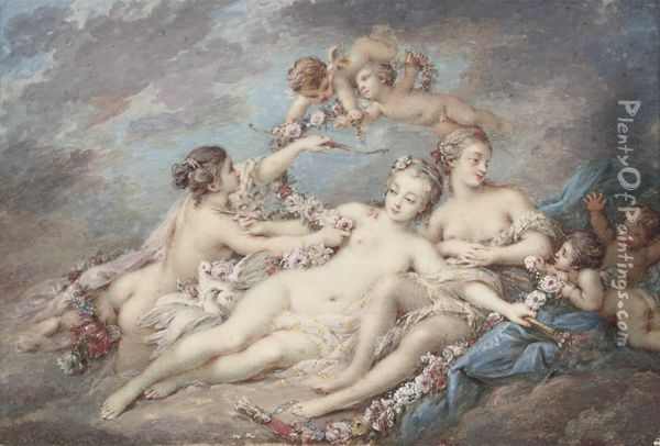 Venus Attended By Nymphs And Amors Oil Painting - Jacques Charlier