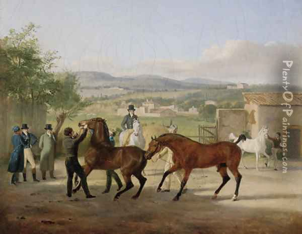 A stallion being led to a mare in a stable yard, a landscape with villas beyond Oil Painting - Jacques Laurent Agasse
