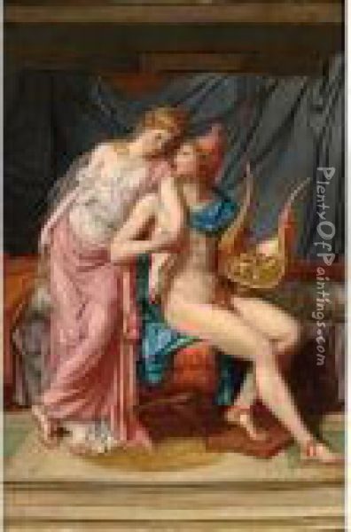 Paris And Helena Courting Oil Painting - Jacques Louis David