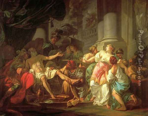 The Death of Seneca Oil Painting - Jacques Louis David