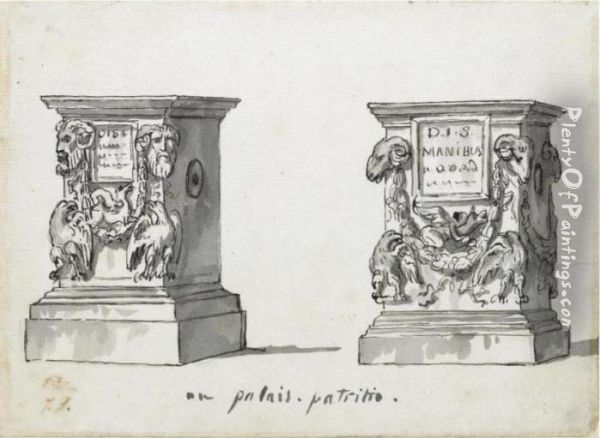 Two Roman Altars With The Epitaphs Oil Painting - Jacques Louis David