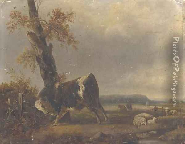 A river landscape with a bull and sheep in the background Oil Painting - Jacques-Raymond Brascassat