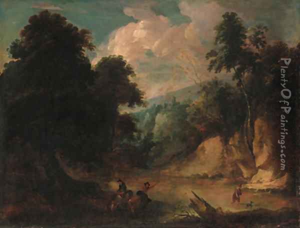 A rocky river landscape with a fisherman and a drover watering cattle Oil Painting - Jacques d' Arthois