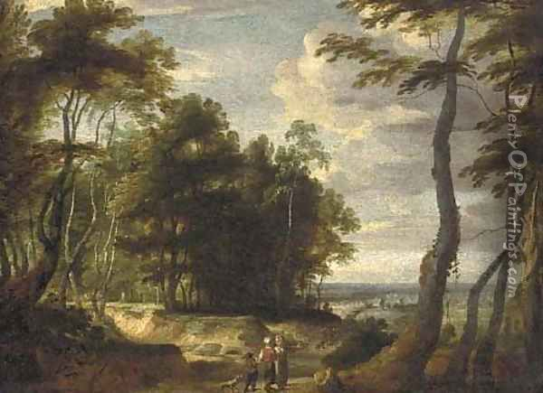 A wooded landscape landscape with peasants on a path Oil Painting - Jacques d' Arthois