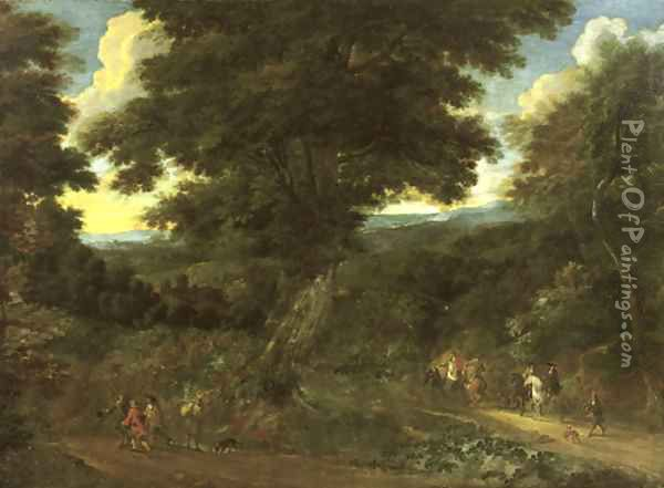 A wooded landscape with travellers on horseback Oil Painting - Jacques d' Arthois