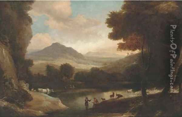 A wooded river landscape with cattle and figures resting on a bank Oil Painting - Jacques d' Arthois