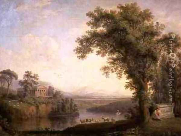 Antique Landscape with Phaetons Tomb Oil Painting - Jakob Philippe Hackert