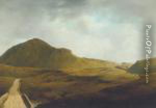 A Mountain Road In Mayo Oil Painting - James Arthur O'Connor