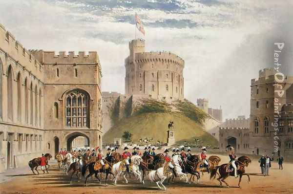 The Quadrangle looking West - the Emperor of Russia and Prince Albert 1819-61, 1838 Oil Painting - James Baker Pyne