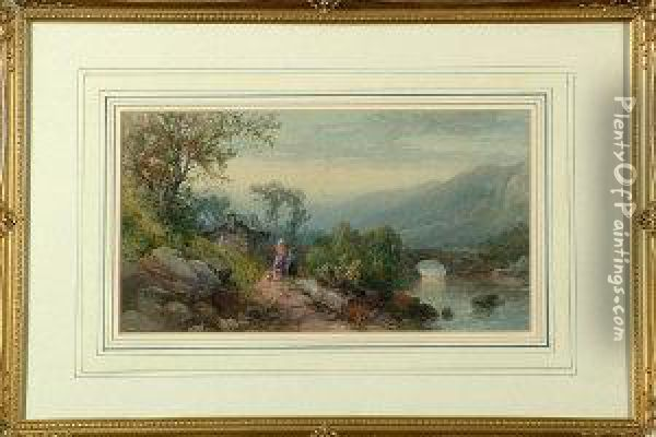 A North Country Landscape With A  Mother And Daughter Near A Cottage - A River Bridge And Range Of Hills  Beyond Oil Painting - James Burrell-Smith