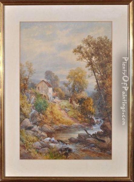 A Watermill Near Warkworth, Northumberland Oil Painting - James Burrell-Smith
