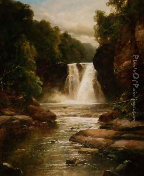 A Wooded River Landscape with Waterfall Oil Painting - James Burrell-Smith