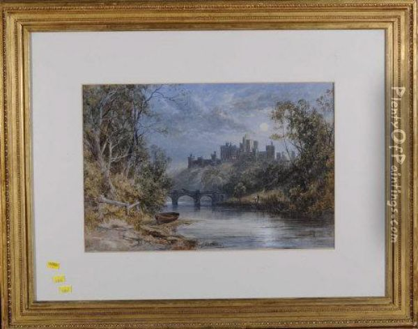 Alnwick Castle By Moonlight Oil Painting - James Burrell-Smith