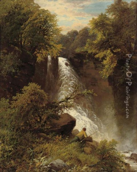 An Angler Before A Waterfall Oil Painting - James Burrell-Smith
