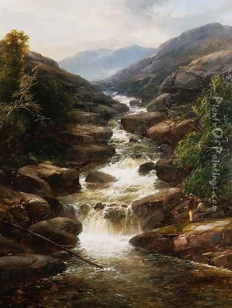 Upper Falls, Aberfeldy, 1870 Oil Painting - James Burrell-Smith