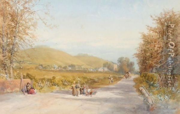 Views Of A Village With Figures In The Foreground Oil Painting - James Burrell-Smith