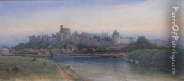 Windsor Castle From The Thames Oil Painting - James Burrell-Smith