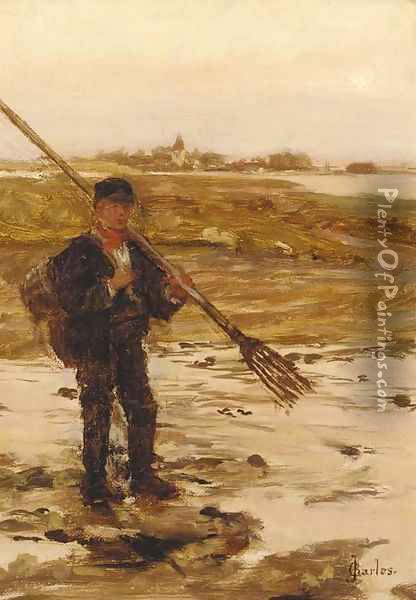 A fisherman on the shore with a town beyond Oil Painting - James Charles