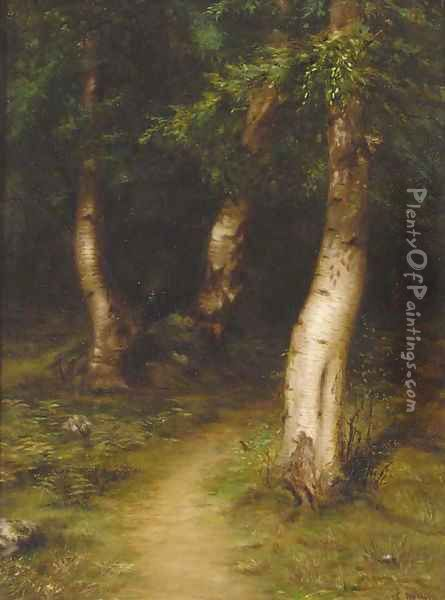 A glade in a birch wood Oil Painting - James Coutts Michie