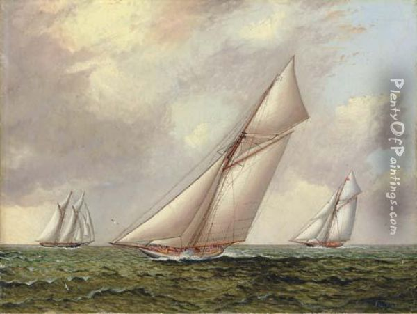 Vigilant Vs. Valkyrie Ii In The 1895 America's Cup Oil Painting - James E. Buttersworth