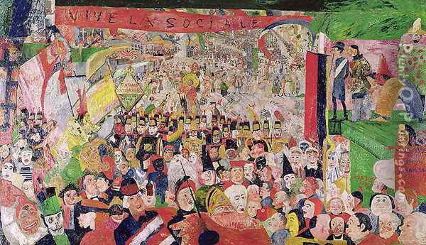 Christ's Triumphant Entry into Brussels, 1888 Oil Painting - James Ensor