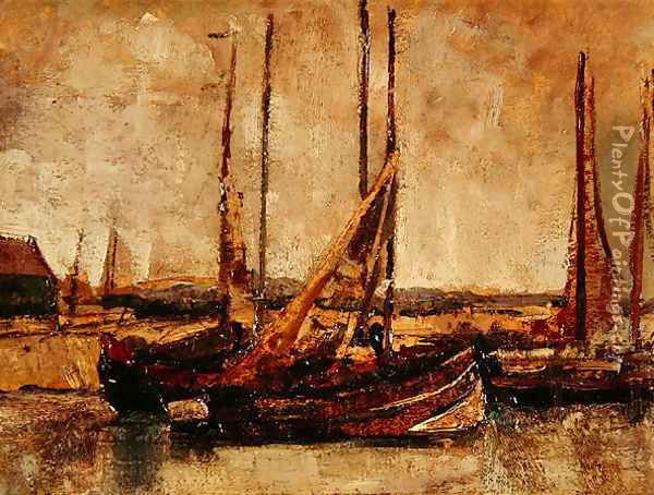 Fishing Boats Oil Painting - James Ensor