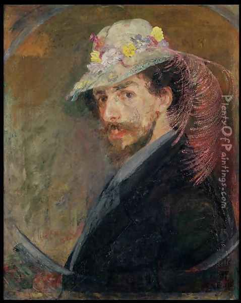 Self Portrait in a Hat with Flowers, 1883 Oil Painting - James Ensor