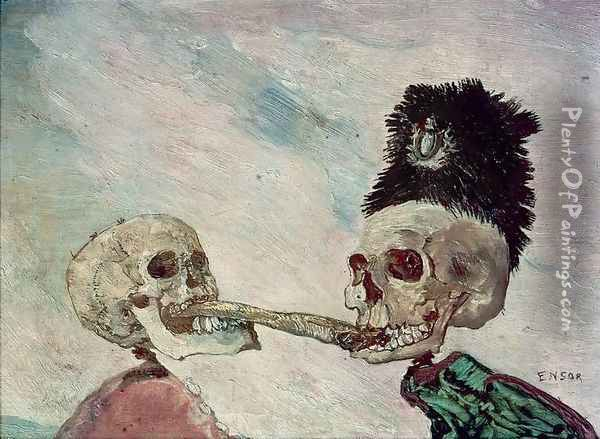 Skeletons Fighting over a Herring Oil Painting - James Ensor
