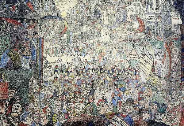 The Entry of Christ into Jerusalem, 1898 Oil Painting - James Ensor