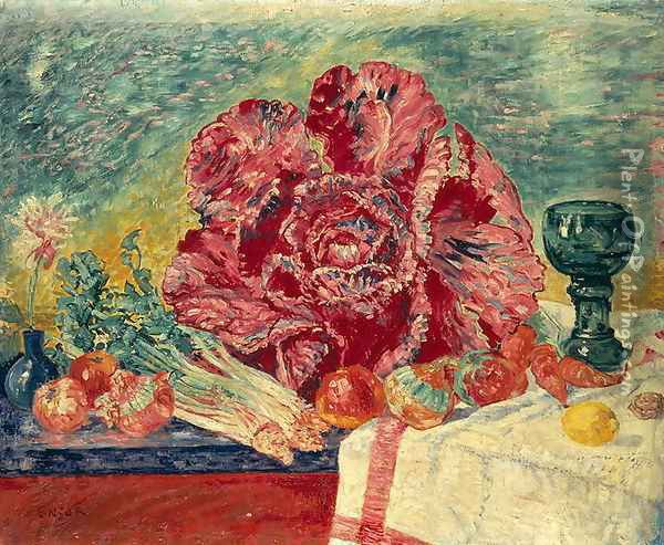 The Red Cabbage, 1925 Oil Painting - James Ensor