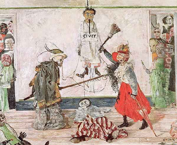 Two Skeletons fighting over a Dead Man, 1891 Oil Painting - James Ensor