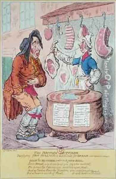 The British Butcher supplying John Bull with a substitute for bread Oil Painting - James Gillray