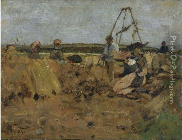 The Potato Pickers, Thornton Loch Oil Painting - James Guthrie